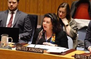 Ambassador Karen Pierce at the Security Council briefing on Colombia
