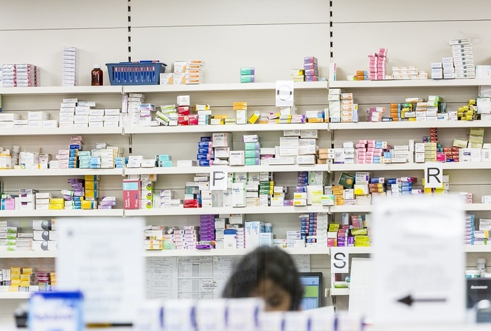 Medicine on pharmacy shelf