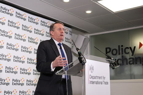 Dr Liam Fox addresses an audience at Policy Exchange