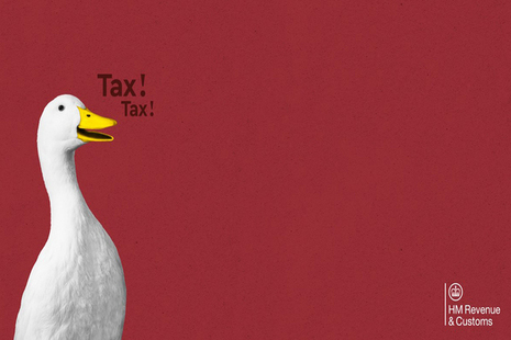 Tax ducks Self Assessment campaign brand image with caption 'tax, tax'.