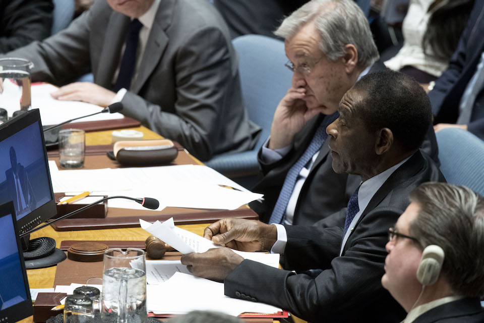 Teodoro Obiang Nguema Mbasogo (right), President of the Republic of Equatorial Guinea and President of the Security Council, alongside Secretary-General Antonio Guterres (UN Photo)