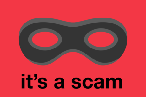 Image of an eyemask on a red background with the words 'it's a scam' underneath.