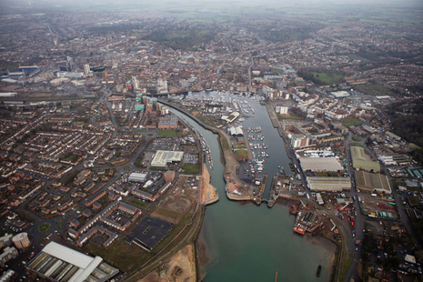 Aerial view of the £67 million Ipswich tidal barrier