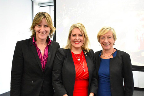 Mims Davies with Liz Nicholl and Katherine Grainger