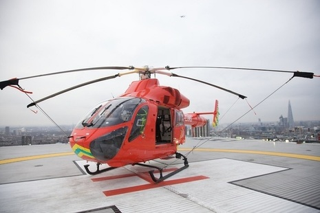Air ambulance on helipad