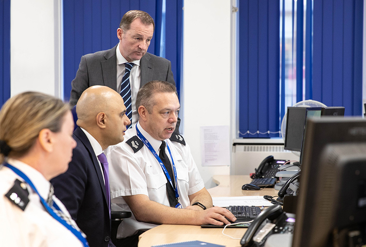 Image of Home Secretary Sajid Javid visiting a police centre preparing for EU exit