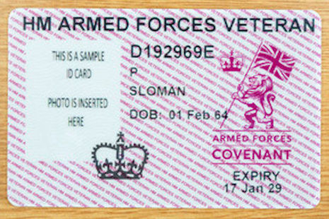 An example of the new Veterans ID card, Crown Copyright