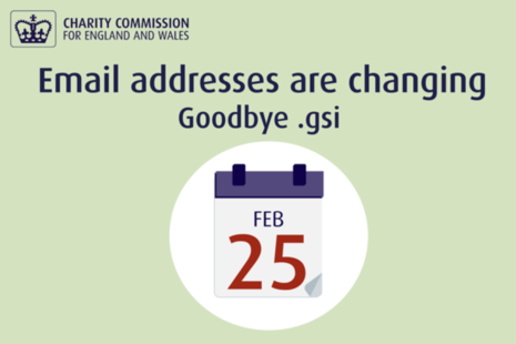 .gsi is being removed from Charity Commission email addresses
