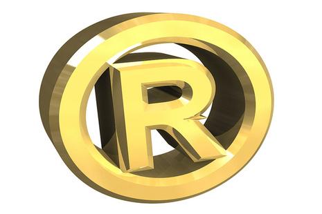 Registered trade mark symbol in gold lettering