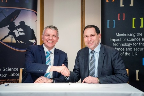 Photo caption, left to right: Dstl Chief Executive Gary Aitkenhead and DECA Chief Executive Geraint Spearing