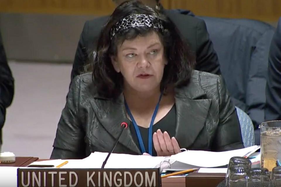 Karen Pierce speaking at the UN