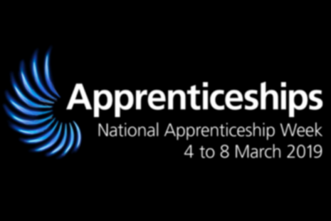 National Apprenticeship Week 2019 logo with legend, Blaze a trail.
