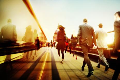 Business people on a bridge.