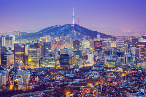 The skyline in Seoul, South Korea.
