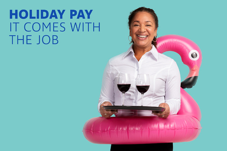 Image from the 'It comes with the job' campaign. A waiter wears an inflatable flamingo.
