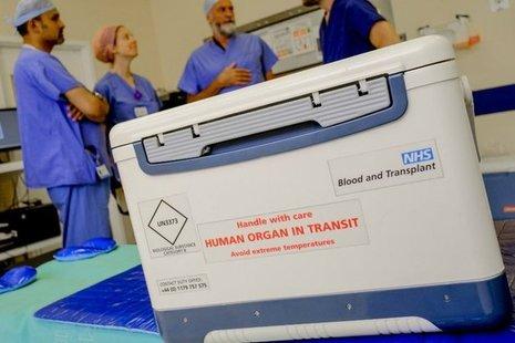 Transplant box in hospital reading 'Human Organ in Transit'