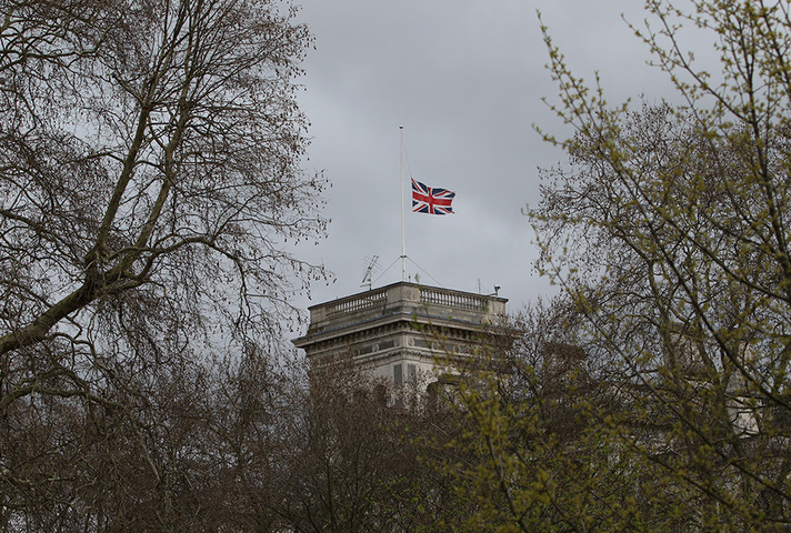 British flag at half mast in honour of the NZ victims who died