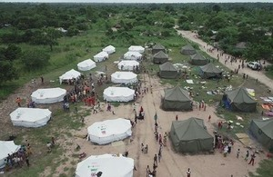 Tents supplied by UK aid that were already in Mozambique ahead of Cyclone Idai.
