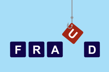 Image of a hook fishing the letter 'u' from the word 'fraud'