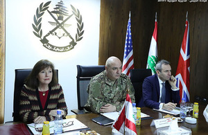 British Ambassador to Lebanon Chris Rampling and US Ambassador Elizabeth Richard met the Lebanese Army Commander Joseph Aoun to discuss progress on the security of the Lebanese-Syrian border, during the High Level Steering Committee (HLSC)