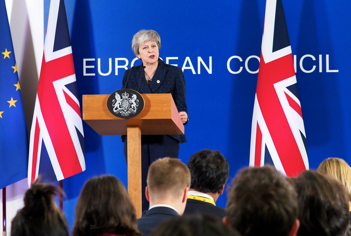 Prime Minister Theresa May addresses media at the EU Council, Brussels
