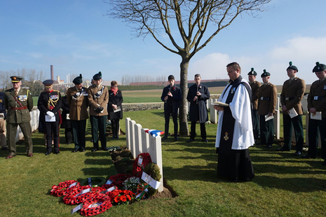 The Reverend Nathan King conducts the rededication service for Lieutenant Donnelly. MOD Crown Copyright.