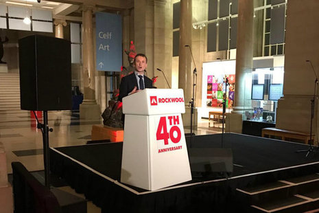 Welsh Secretary delivering his speech at the ROCKWOOL UK 40th anniversary event