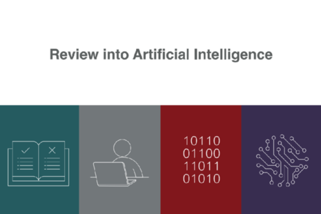 4 images connected to the theme of artificial intelligence, including person sitting at a computer.