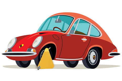 Cartoon image of a clamped Porsche