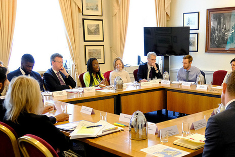 Jeremy Wright and Mims Davies chairing round table