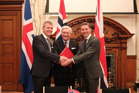 Her Majesty's Trade Commissioner to Europe, Andrew Mitchell,  withStefán Haukur Jóhannesson, Ambassador of Iceland to the UK, and Wegger Christian Strømmen, Ambassador of Norway to the UK.