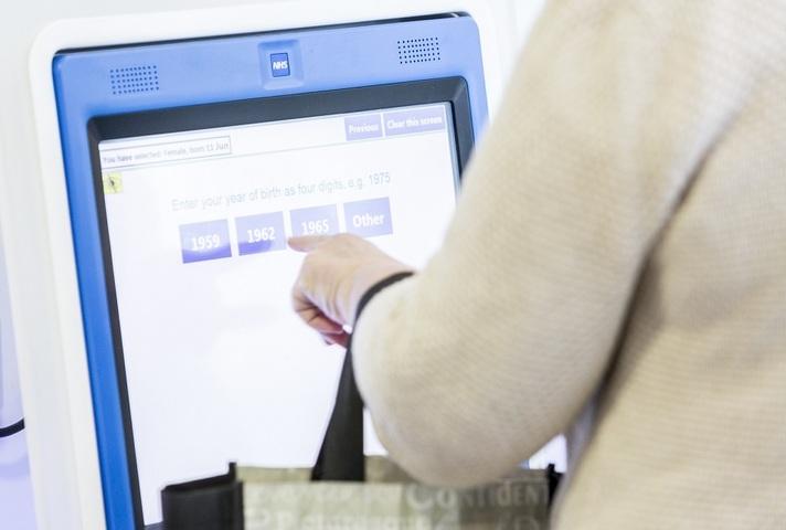 Patient using interactive screen