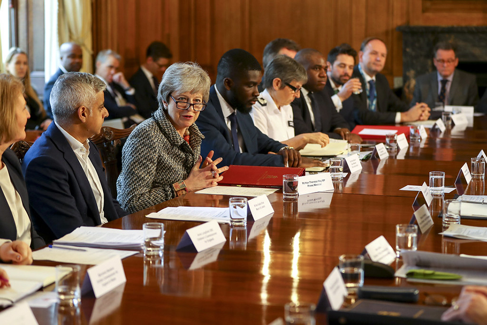 Prime Minister Theresa May addressing plenary roundtable meeting of the Serious Violence Summit