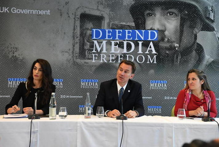 Amal Clooney and Jeremy Hunt on a panel about Media Freedom