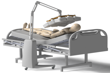 Artist impression of new portable 3D X-ray at patients bedside