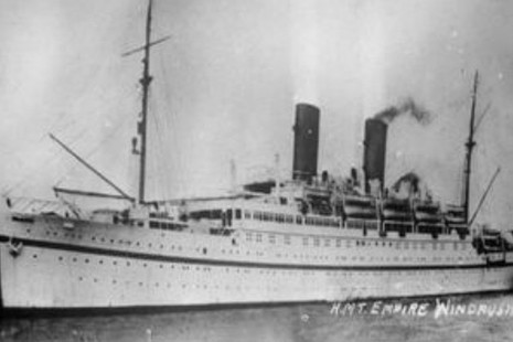Windrush steamer ship out at sea