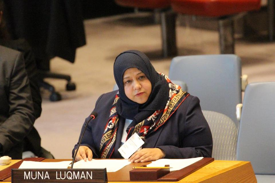Muna Luqman, special briefer, at UN Security Council session on Yemen.