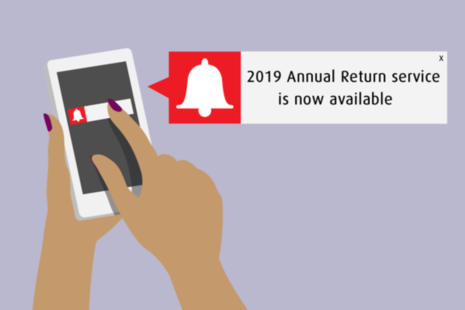 Alert message on a mobile phone. The 2019 Annual Return service is now available.