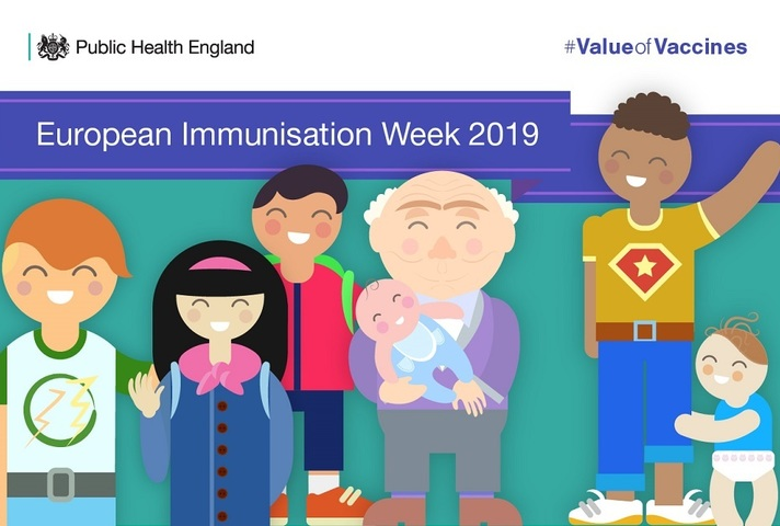 Graphic showing people of all ages and nationalities to illustrate European Immunisation Week 2019