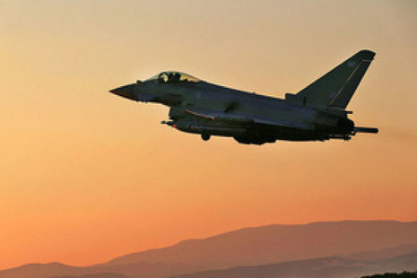 A Royal Air Force Typhoon departs on a mission supporting Operation Shader in support of the Counter-Daesh operations in Iraq and Syria. Crown Copyright.