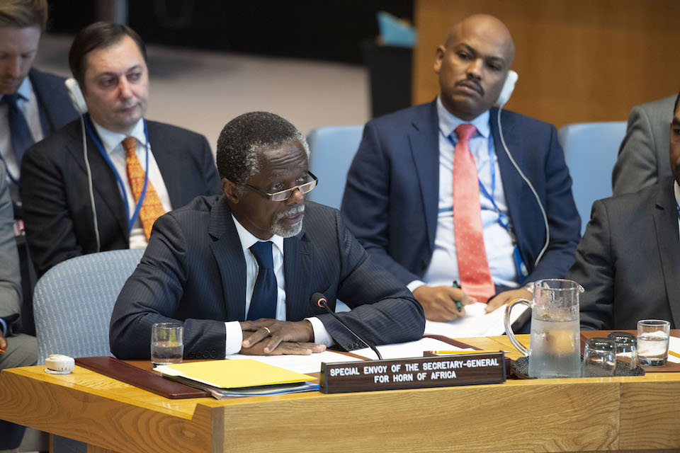 Parfait Onanga-Anyanga, Special Envoy of the Secretary-General for the Horn of Africa, briefs the Security Council on the situation in the Sudan and South Sudan including the situation in Abyei. (UN Photo)