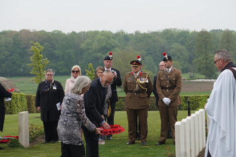 Colin Foskett (Fredericks great nephew) and his wife Carol Foskett lay a wreath at his grave during yesterday's ceremony, Crown Copyright, All rights reserved