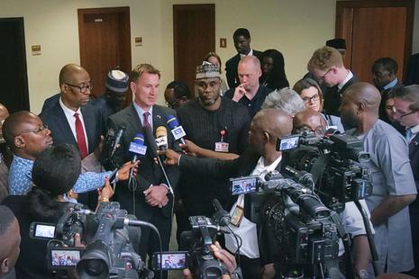 Foreign Secretary Hunt speaks to media in Abuja, Nigeria