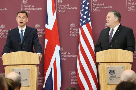 Foreign Secretary Hunt and Secretary Pompeo address media in London