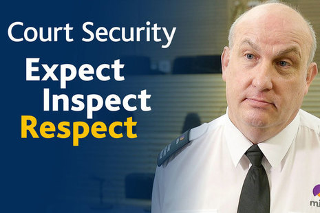 Court security officer with tag line: Expect, Inspect, respect
