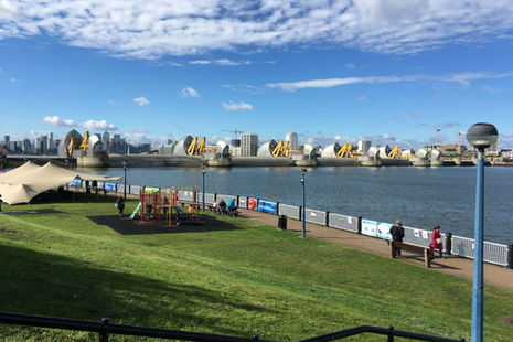 View of the Thames Barrier from the bank