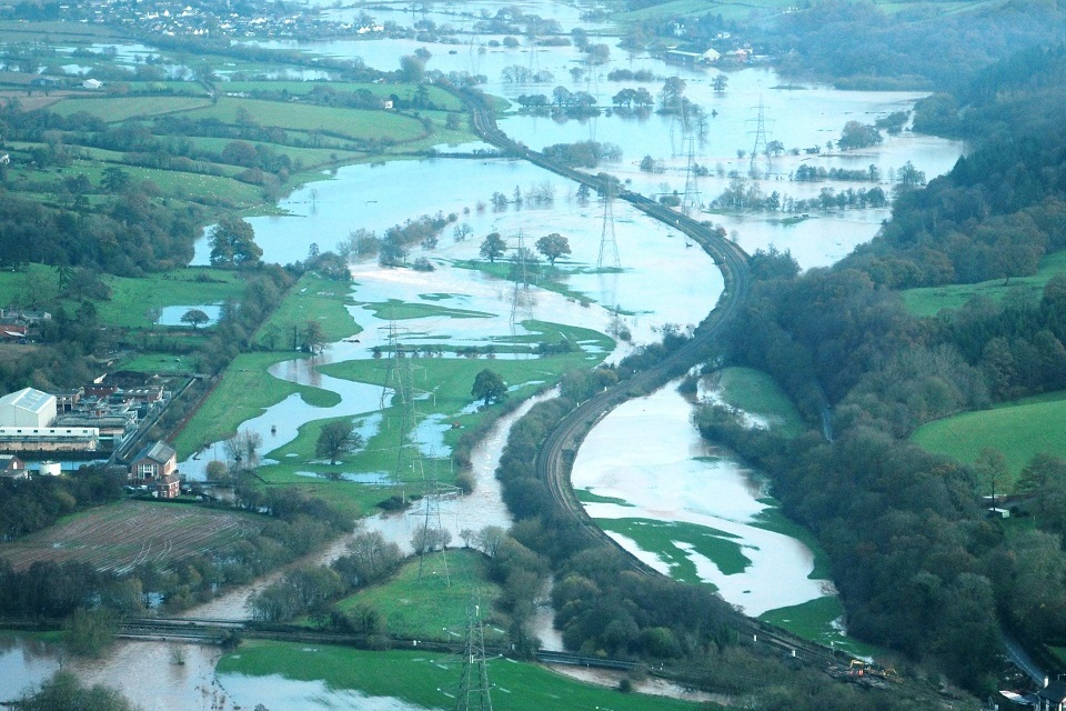 Picture shows flooding of agricultural land