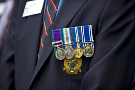Close up of a veteran's medals