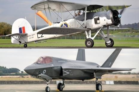 Image of a Royal Navy Fairy Swordfish Mk II and a Joint Service Lockheed-Martin F35B Lightning II. MOD Crown Copyright.
