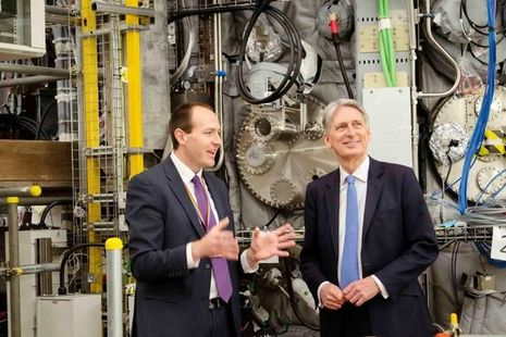 Ian Chapman showing the Chancellor the fusion facilities at Culham